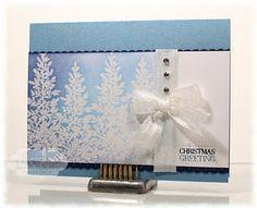 white/blue winter card {I like the white trees on blue; perhaps on velum over blue}