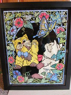 "#Vintage Western Graphics Blacklight Poster ""Playtime Cat"" Velvet #Blacklight"