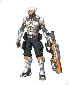 Soldier 76 Concept Art By George Vostrikov Alien Character, Cyberpunk Character, Character Concept, Character Art, Character Reference, Armor Concept, Concept Art, Overwatch Costume, Overwatch 2