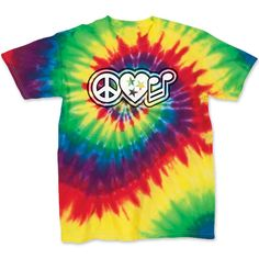 Adult Peace Love Music on a Spiral Tie Dye T-Shirt