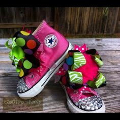 Customized Bling Converse by SassySolesShoetique on Etsy, $50.00 Bling Converse, Awesome Shoes, Pretty Baby, Converse Chuck Taylor, Sassy, Diva, High Top Sneakers, Girl Outfits, Corner