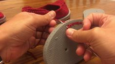 This is a video I created to show how I attach my crocheted shoes to flip flops. The shoe pattern is not mine. It can be found at http://makeanddocrew.com/free-crochet-slippers-pattern-flip-flops-sole/