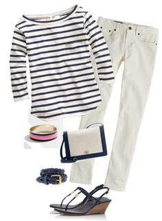 """Navy and Ecru"" by justvisiting ❤ liked on Polyvore"