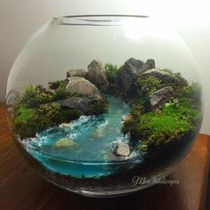 DIY Home Decor Ideas on a Budget - Terrarium in a Glass Bowl Terarium with riverTerarium with river Mini Terrarium, Terrarium Scene, Terrarium Centerpiece, How To Make Terrariums, Glass Terrarium, Succulent Terrarium, Terrarium Ideas, Terrarium Wedding, Fairy Terrarium