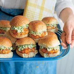 Buffalo Chicken Sliders with Celery-Ranch Slaw | MyRecipes.com