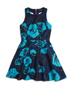 Miss Behave Girls' Betty Floral T Back Dress - Sizes 8-16  | Polyester; lining: polyester/cotton | Machine wash | Imported | Fits true to size | Round neckline, sleeveless, fitted bodice, T back, expo