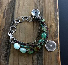 Green Chrysoprase Bracelet and Raw Sterling Silver , Artisan Jewelry , Multi Strand , Boho Chic by COTELLE