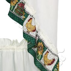 Inexpensive Country Kitchen Curtains- Sunflower Rooster Kitchen Curtain