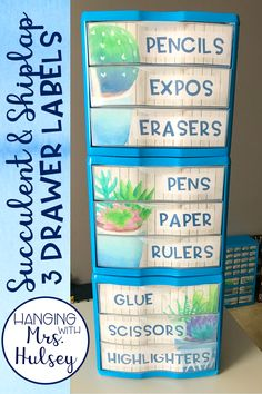 Editable labels created for the 3 drawer Sterilite storage containers-- great for classroom supplies, paper organization, and more! Theme goes well with a rustic, succulent, or shiplap classroom decor!