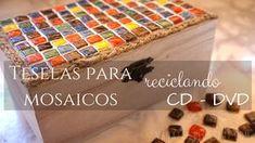 Teselas hechas con CDs para hacer mosaicos