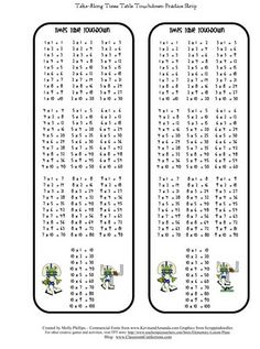Times Tables Book Times Tables From  To  With  Rows Of