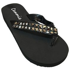 Cammie Women's 1 Inch Wedge Thong Sandals With Studded Straps * Check out this great product.
