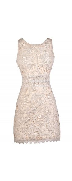 Lily Boutique Lost In Lace Sheath Dress in Cream , $36 Cream Lace Dress, Beige Lace Dress, Lace Rehearsal Dinner Dress, Cute Lace Dress www.lilyboutique.com