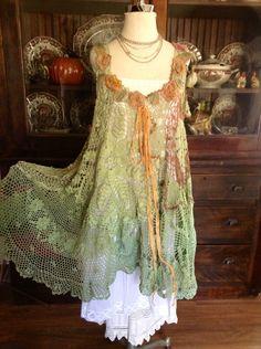 Luv Lucy Crochet Dress Lucy's Woodland Fairy  by LuvLucyArtToWear, $225.00