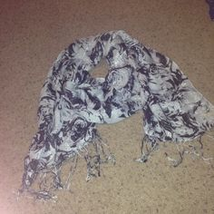 Silver and black floral scarf with sparkle Silver and black floral scarf with sparkle and fringe Accessories Scarves & Wraps