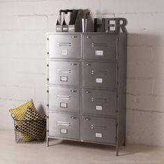 Bibliothèque métallique grise 8 casiers decoclico Factory