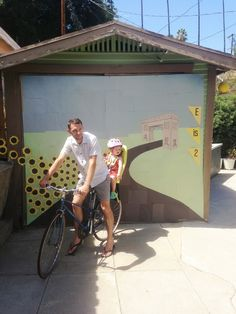 bicycle party mural ... photobooth of people posing on their bikes