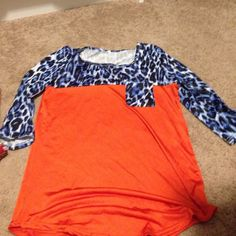 Dress top Blue and orange dress top Tops