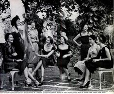"""""""Eight of Cuba's loveliest society girls gather in a Havana garden to compare notes on their new clothes, most of which come direct from Paris"""" From LIFE Magazine - Feb 6, 1950"""