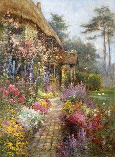 """A Garden in July"" -- by Alfred de Breanski, Jr. (British, 1877 -- 1957)"