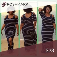 Plus-Size Shoulder Cut Maxi Dress Color: Navy with White Stripes Shoulder Cut Short Sleeve Maxi Dress Relaxed style with a scoop neck Side slit Dresses Maxi