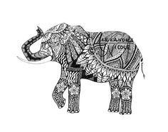 Elephant Zentangle Art Print - Black and White - Pen and Ink. This is a striking, black and white zentangle, pen and ink drawing of an