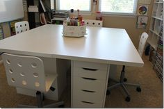 to make desk:  2 Vika Amon Table tops ( purchased two 2.5′ x 5′ table tops and put them together for a 5×5 table ) and 4 Vika Alex Drawer units