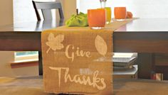 Thanksgiving burlap end table