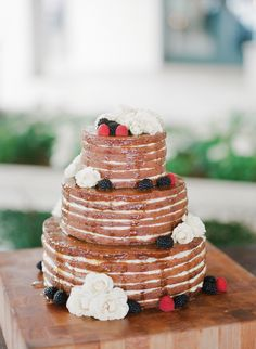 Naked Wedding Cake with Fresh Berries | Easton Events | The Vine | Ashley Seawell Photography https://www.theknot.com/marketplace/ashley-seawell-photography-aiken-sc-647251
