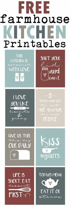 Free Farmhouse Inspired Kitchen Printables-Funny Country Sayings for your kitchen-Aqua Kitchen Decor-www.themountainviewcottage.net