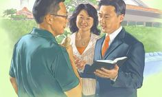 Two of Jehovah's Witnesses preach to a man