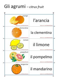 Learn French For Kids Teachers Learning Videos Hairstyles Key: 4417006518 Italian Grammar, Italian Vocabulary, Food Vocabulary, Italian Phrases, Italian Words, Italian Language School, Fruit Orange, Learn French Fast, Italian Online