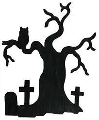 Black Halloween Wood Haunted Silhouette Tree with crosses and owl cutout cricut halloween Moldes Halloween, Casa Halloween, Halloween Templates, Fete Halloween, Halloween Trees, Holidays Halloween, Halloween Crafts, Halloween Decorations, Creepy Halloween