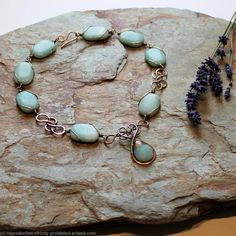 Mermaids Tear Drop Necklace - Bronze and Amazonite by Abby Hook