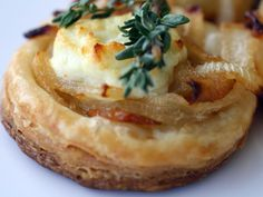 sweet onion and goat cheese tarts. mmm.