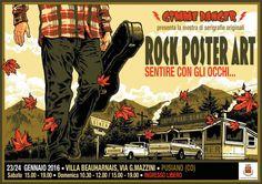"""Manifesto della mostra """"Rock Poster Art - sentire con gli occhi"""", Palazzo Beauharnais, Pusiano (Como), sabato 23 e domenica 24 gennaio 2016"""