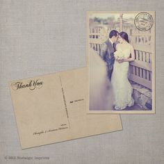 "Vintage Wedding  Thank You Postcard - the ""Anastasia"". $38.00, via Etsy."