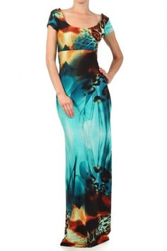 92 percent Polyester 8 percent Spandex 1S/1M/1L Per Pack Multi (shown) This HIGH QUALITY dress is VERY CUTE! Designed brilliantly, this adorable full length, multicolored dress with a scoop neckline and low back cutout feature is hand washable, and fits true to size.
