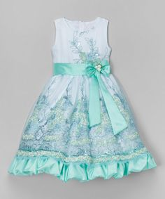 Another great find on #zulily! Teal Floral Embroidered Dress - Infant, Toddler & Girls #zulilyfinds