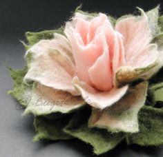 Sweet Pink and Moss Green Felt Flower Brooch by Brigite on Etsy