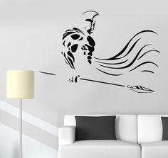 Vinyl Wall Decal Spartan Warrior Spear War Ancient Greece Stickers (1110ig)