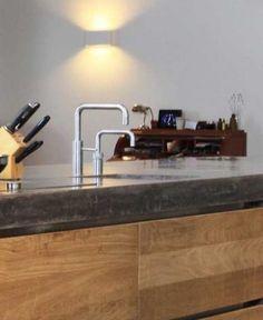 Het keukenwerkblad: uit welke materialen kan je kiezen? Keuken • keukeneiland • natuursteen • houten lades • keukenkraan • Foto: www.quooker.be Sweet Home, Tips, Kitchen, Kitchens, Cooking, House Beautiful, Advice, Cuisine, Cucina