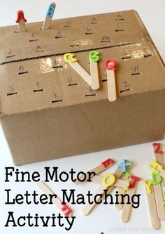 Set up a simple fine motor activity to work on letter recognition. This letter matching activity can be set up various ways depending on your child's skill level: alphabetical order, uppercase/ lowercase letter recognition, sequencing, etc! You could always write the letters on the Popsicle sticks too (upper case one side, lower case the other side)
