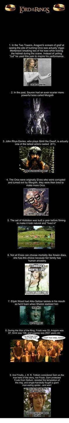 Lord Of The Rings Facts. Some of the facts like Frodos age is wrong he started his adventure at 55 read the books.