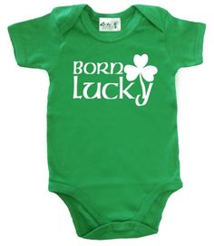 Dirty Fingers - Born Lucky (with Shamrock logo) - Baby & Toddler Short Sleeve Bodysuit, 12-18 months, Green Dirty Fingers http://www.amazon.com/dp/B008KL43C2/ref=cm_sw_r_pi_dp_2yt9ub1K838DT