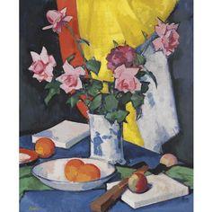 peploe, samuel john, r.s.a. red and pink roses, oranges and fan     victori    victorian, pre-raphaelite & british impressionist art     sotheby's l09815lot3spbden