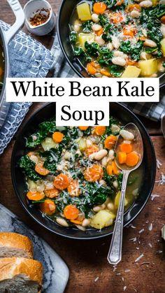 Kale Soup Recipes, Vegan Dinner Recipes, Vegan Dinners, Whole Food Recipes, Vegetarian Recipes, Cooking Recipes, Autumn Food Recipes, Chicken And Kale Recipes, Healthy Winter Recipes