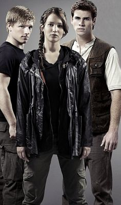 (From the left) Peeta Mellark, Katniss Everdeen and Gale Hawthorne.