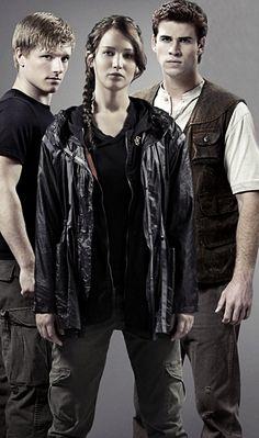 (From the left) Peeta Mellark, Katniss Everdeen and Gale Hawthorne.
