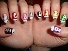 Converse nails...I might do one or two nails rather than all 10 but cute idea nonetheless!